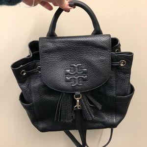 Tory Burch Black mini leather backpack!